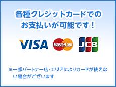各種クレジットカードでのお支払いが可能です! VISA MASTER JCB ※手数料がかかる場合がございます ※一部パートナー店・エリアによりカードが使えない場合がございます