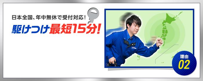 理由02 日本全国年中無休で対応! 駆けつけ最短15分!
